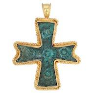 Byzantine Ancient Roman Cross Pendant - 21k Gold & Patinaed Bronze Antique
