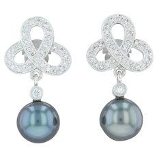 Cultured Black Pearl & Diamond Celtic Knot Earrings - 18k White Gold Dangle