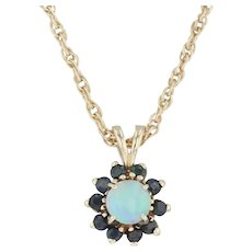 """Opal & Sapphire Flower Pendant Necklace - 14k Yellow Gold 16"""" Rope Chain"""
