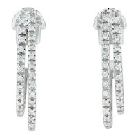 .32ctw Diamond Pave J-Hook Earrings - 18k White Gold Pierced Drop
