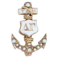 Delta Gamma Badge - 10k Yellow Gold Pearls Greek Anchor Sorority Pin