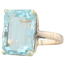 7.81ct Aquamarine Ring - 14k Yellow Gold Size 7 Emerald Cut Solitaire