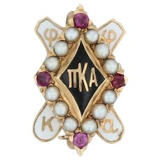 Pi Kappa Alpha Badge - 14k Gold Pearls Rubies Pike Pin Greek Fraternity