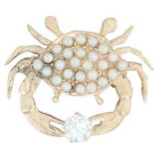Pearl & .34ct Diamond Crab Brooch Pendant - 14k Yellow Gold Nautical Pin