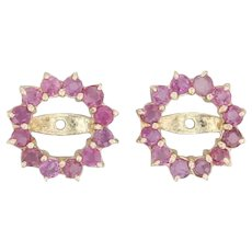 .72ctw Ruby Earring Enhancers - 14k Yellow Gold Gemstone Halo for Stud Earrings