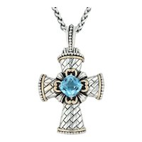4.30ct Blue Topaz Cross Pendant Necklace - Sterling Silver 14k Gold 18.5""