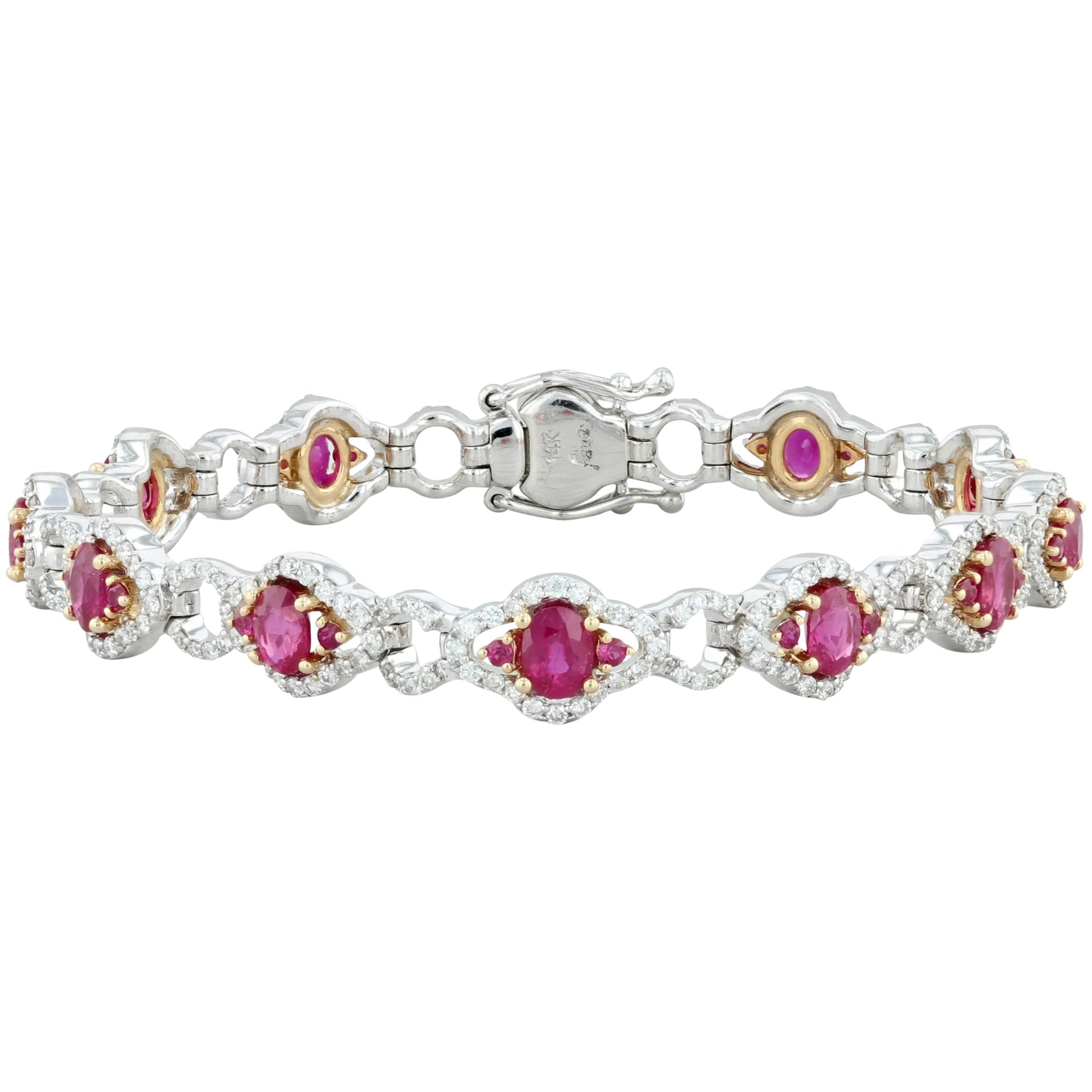 Fine Gemstone Bracelets Gorgeous 4mm Ruby Tennis Bracelet 14kt White Gold Brand New Item Jewelry Watches