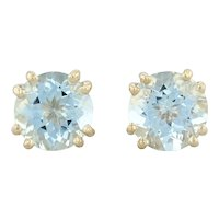 3.59ctw Aquamarine Stud Earrings - 14k Yellow Gold Round Solitaire March
