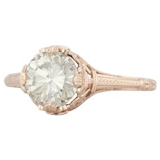 New GIA 1.43ct SI2 Diamond Solitaire Engagement Ring - 14k Rose Gold Vintage Style
