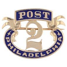 Antique Grand Army Republic Pin - 10k Gold 2 Years Post Philadelphia GAR 1800s