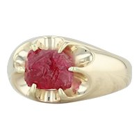 Vintage 3.54ct Mogok Ruby Ring - 14k Yellow Gold Size 8.75 Rough Cut Solitaire