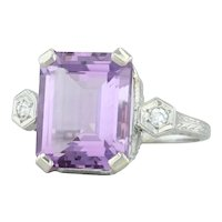 5.55ctw Amethyst & Diamond Ring - 18k White Gold Size 6 Vintage Wheat Engraved