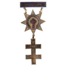 Knights Templar Medal - 8k Gold Past Commander Star Cross Masonic York Rite Case