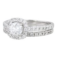 .90ctw Diamond Bridal Ring Set - 14k White Gold Size 6 Engagement & Wedding Band