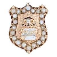 Phi Delta Theta Badge - 14k Gold Pearls Fraternity Pin Shield Diamond Eye 1892