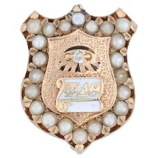 Phi Delta Theta Badge - 14k Gold Pearls Fraternity Pin Shield Diamond Eye 1892