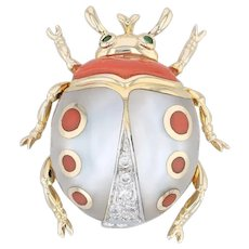 Asch Grossbardt Ladybug Brooch- 14k Gold Diamonds Emeralds Coral Mother of Pearl