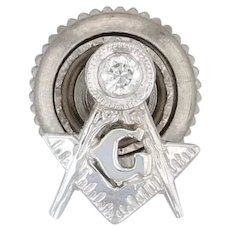 Diamond Square & Compass Lapel Pin - 14k White Gold Masonic Freemason Screwback