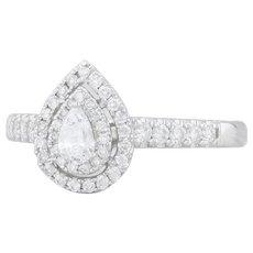 New .46 Diamond Teardrop Halo Engagement Ring - 14k White Gold Size 7