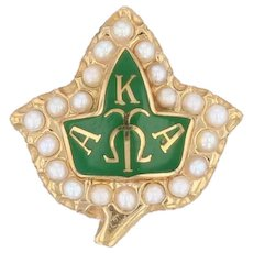 Alpha Kappa Alpha Badge - 10k Gold Pearls Sorority Leaf Pin