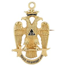 33rd Degree Masonic Badge Fob 14k Gold Scottish Rite Eagle Pin Deus Meumque Jus