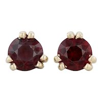 2ctw Garnet Stud Earrings - 14k Yellow Gold Round Solitaire January Birthstone