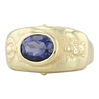 Seidengang Iolite Turtle Bee Ring - 18k Yellow Gold Size 7.75 Purple Solitaire
