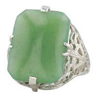 Vintage Green Nephrite Jade Filigree Ring 14k White Gold Size 5