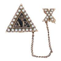 Delta Phi Epsilon Badge 10k Gold Pearls Rare No Scroll Version Sorority Pin