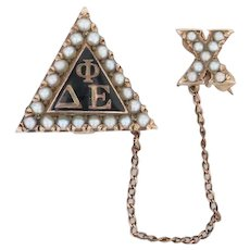 Delta Phi Epsilon Badge 10k Gold Pearls Rare No Scroll Version Sorority Pin