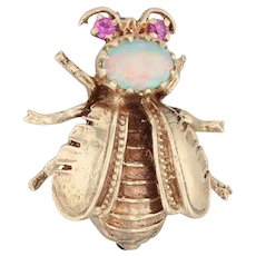 Antique Gemstone Bee Brooch - 14k Yellow Gold Opal Synthetic Ruby Pin