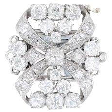 3.46ctw Diamond Statement Clasp - Platinum 18k White Gold Three Strand Findings