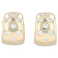 0.24ctw Diamond Huggie Hoop Earrings - 18k Yellow Gold Pierced Hoops