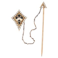 Antique Kappa Alpha Theta Badge 18k Gold Diamonds Pearls Stickpin Guard 1800s