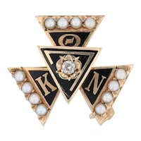 Theta Kappa Nu Pin 14k Gold Diamonds Enamel Vintage Fraternity Pin
