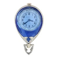Art Deco Pocket Watch Fob Pendant - 18k White Gold Blue Glass Figural Diver