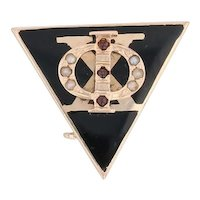 Phi Delta Chi Badge 14k Gold Pearls Garnets Pharmacy Fraternity Pin