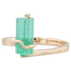 Emerald Crystal Prism Ring 18k Yellow Gold Size 7.5 Abstract Solitaire