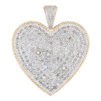 1ctw Pave Diamond Heart Pendant - 10k Yellow White Gold Cluster Statement