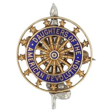Daughters of the American Revolution Mini Pin - 14k Gold JE Caldwell DAR Badge