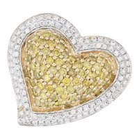 0.95ctw Yellow White Diamond Heart Halo Pendant 14k Yellow Gold Pave Cluster
