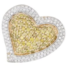 0.95ctw Yellow White Diamond Heart Halo Pendant 14k Yellow Gold Pave Cluster