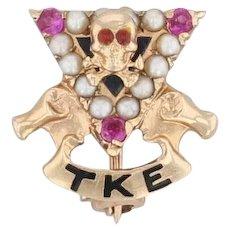 Tau Kappa Epsilon Skull Pin 14k Gold Pearls Rubies Vintage Sweetheart Badge