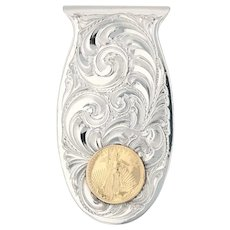 1999 Liberty Coin Money Clip German Silver 1/10oz 22k Gold Vintage