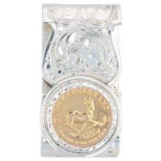 African Krugerrand Coin Money Clip Sterling Silver Fine Gold 1/4oz Engravable