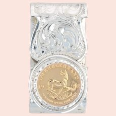 African Krugerrand Coin Money Clip Sterling Silver Fine Gold 1/4oz Engravable