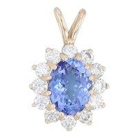 2.40ctw Blue Tanzanite Diamond Halo Pendant 14k Yellow Gold December Birthstone