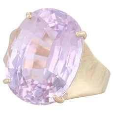 Pink Kunzite Solitaire Ring 14k Yellow Gold Size 6 Oval Brilliant 11.9ct