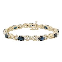 "9.95ctw Blue Sapphire Diamond Tennis Bracelet 14k Yellow Gold 6.5"" X Link Chain"