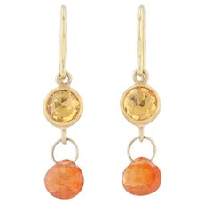 Orange Spessartite Garnet Briolette Drop Earrings 22k Yellow Gold Hook Posts